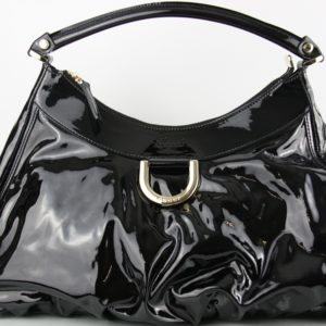 Gucci Black Patent Abbey D-Ring Shoulder Bag (JBG13)